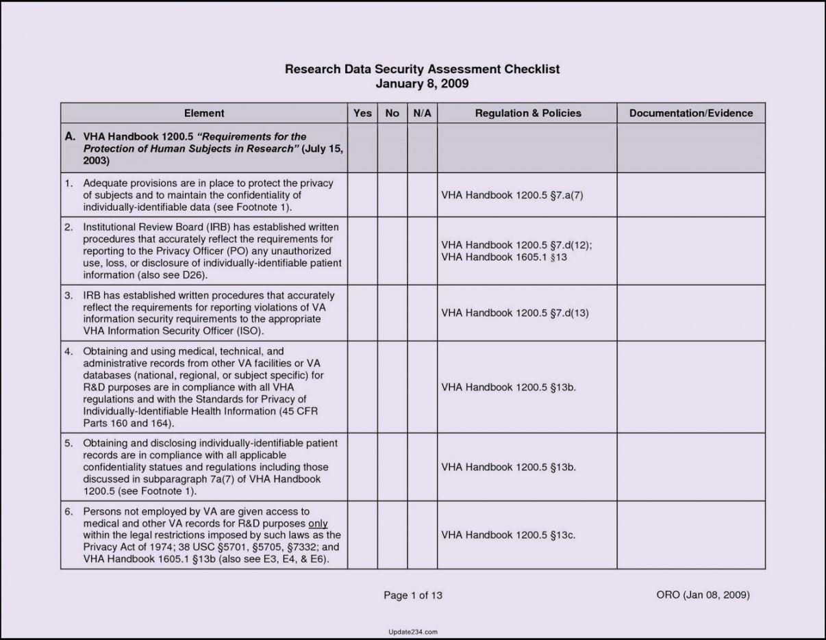 printable network assessment checklist template  template update234 network assessment checklist template samples