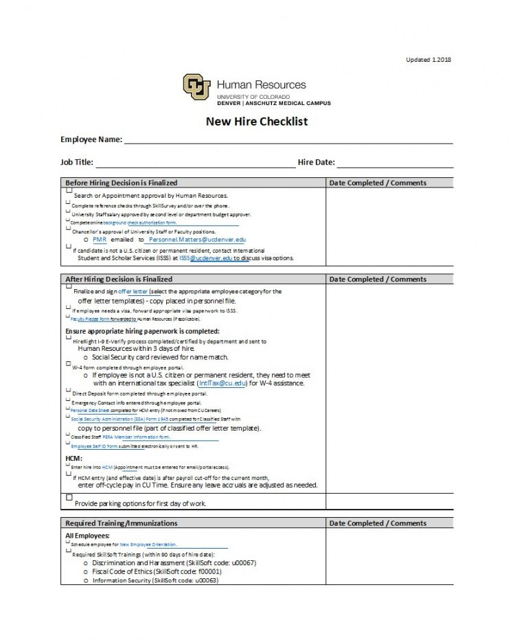 printable new employee checklist template useful hire templates forms lab employee new hire checklist template excel