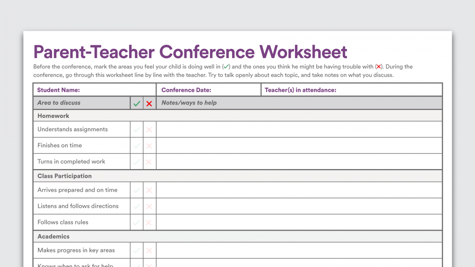 printable printable parent cher conference worksheet form high school parent teacher conference checklist template excel