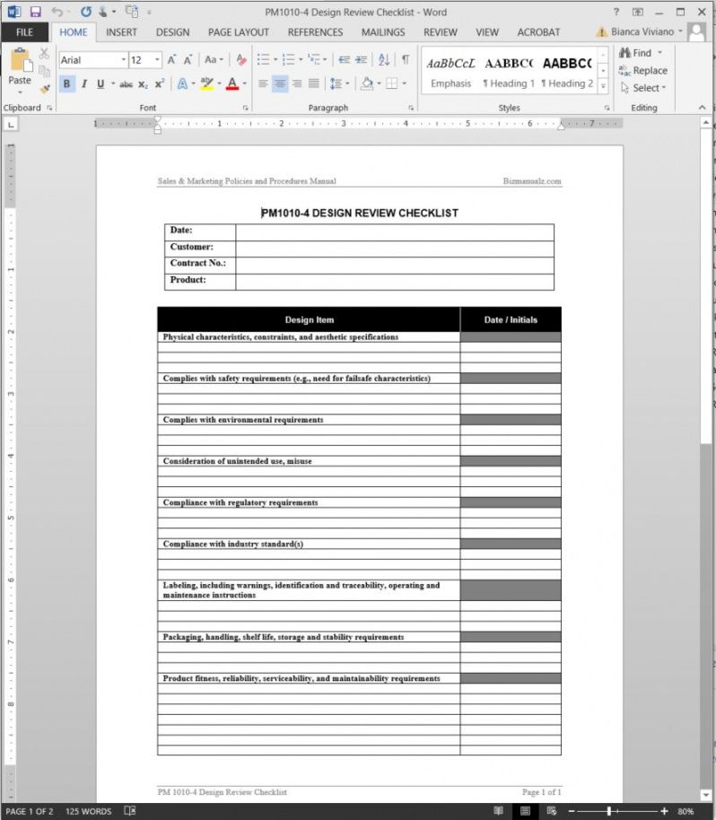 printable product design review checklist template technical checklist template pdf