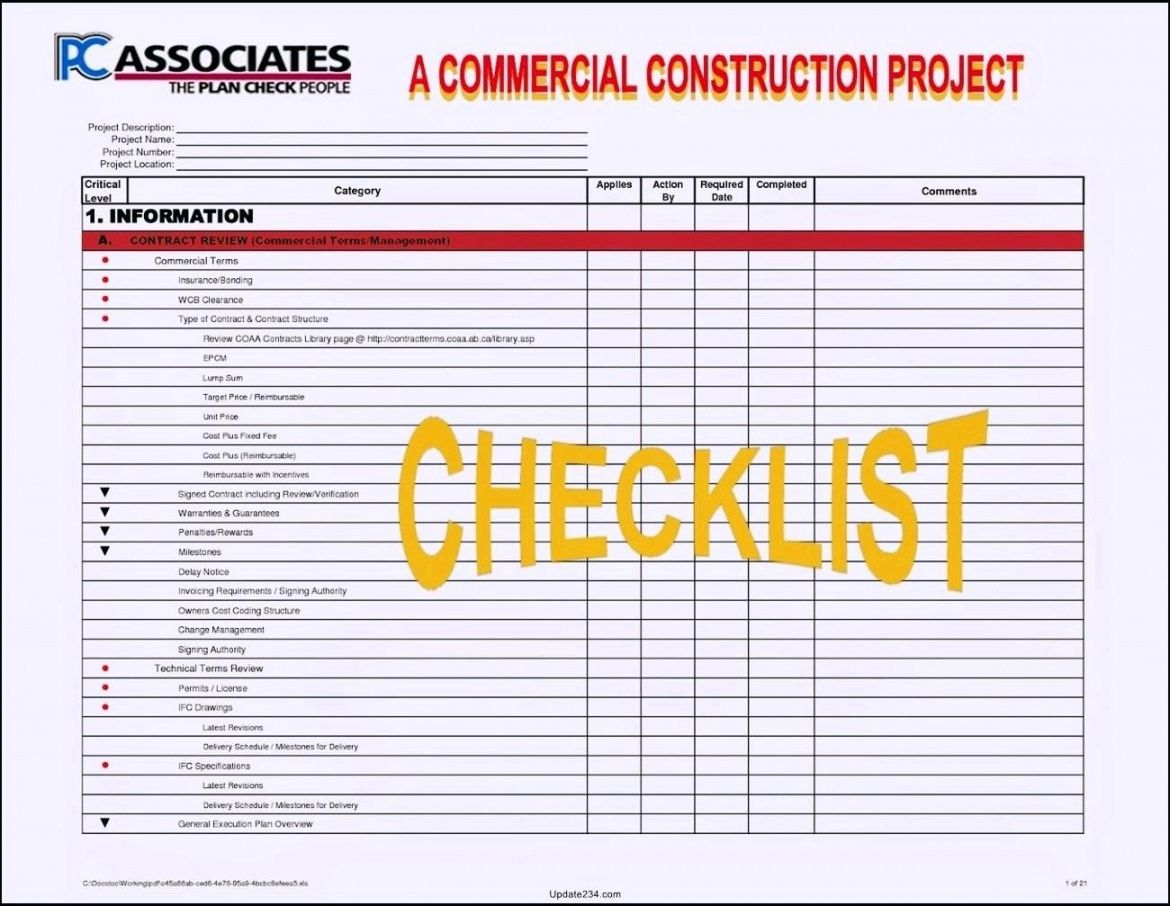printable project management checklist example template excel free download checklist project management template pdf