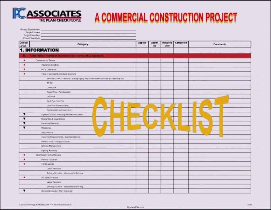 printable project management construction checklist template manager example construction project checklist template excel