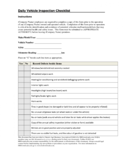 printable truck inspection checklist template samples and ailer pdf daily form daily vehicle maintenance checklist template examples