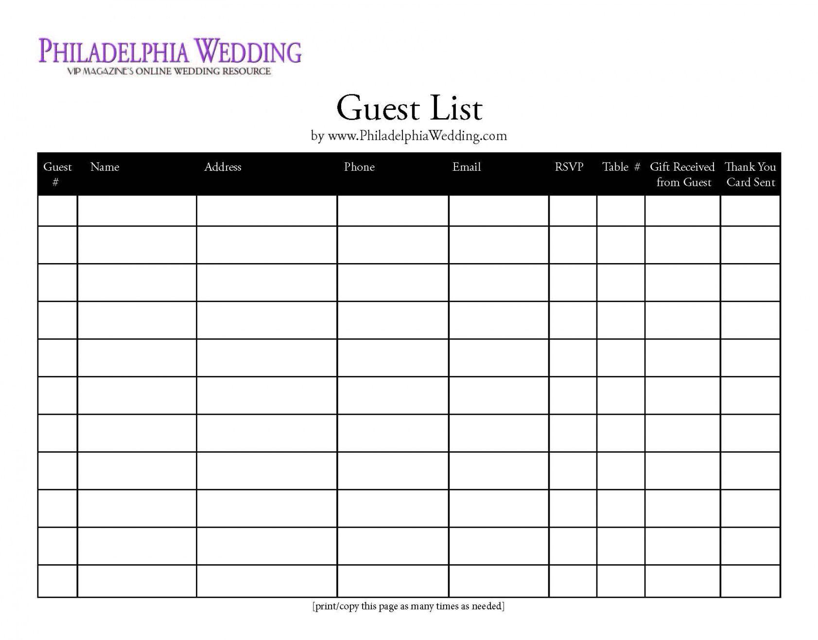 printable wedding guest list template   wedding  wedding wedding wedding guest checklist template doc