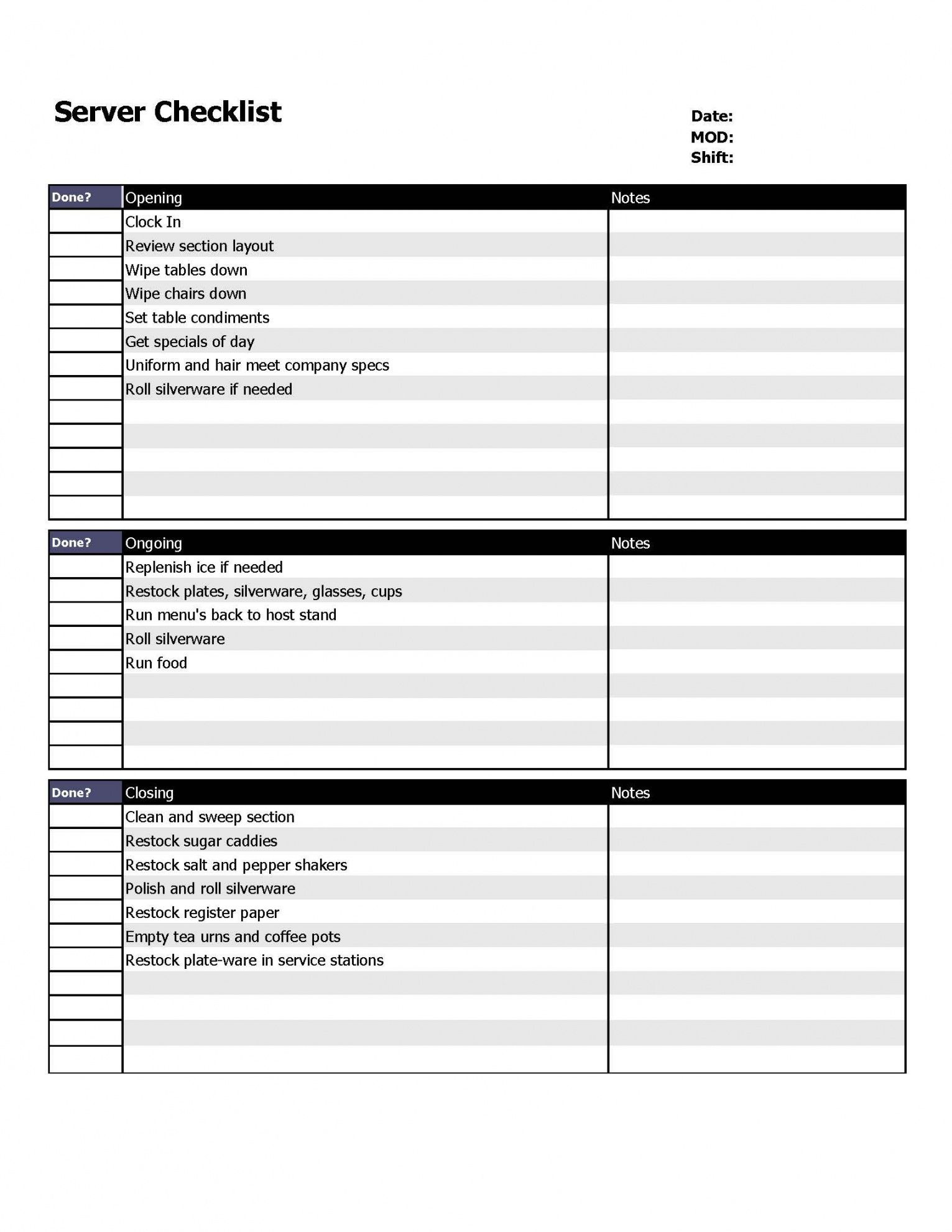 restaurant server checklist form  organizing  restaurant service shift checklist template samples