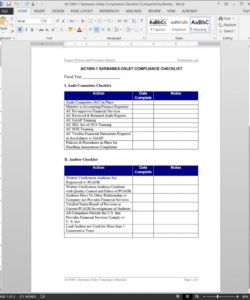 sarbanes oxley compliance checklist template compliance audit checklist template