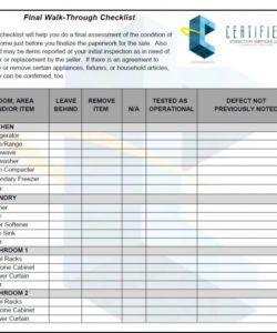 template design final walk through checklist template  collection walk thru checklist template samples