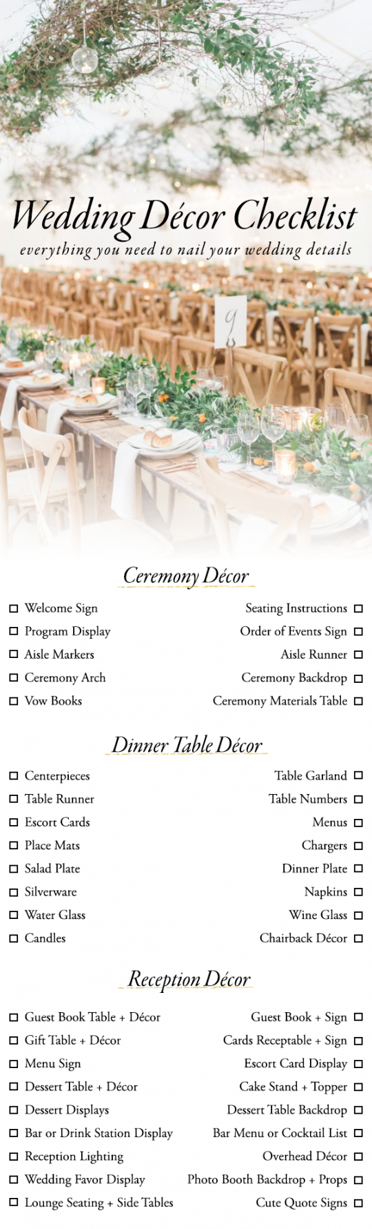 use this wedding décor checklist to help you nail every detail wedding decoration checklist template samples