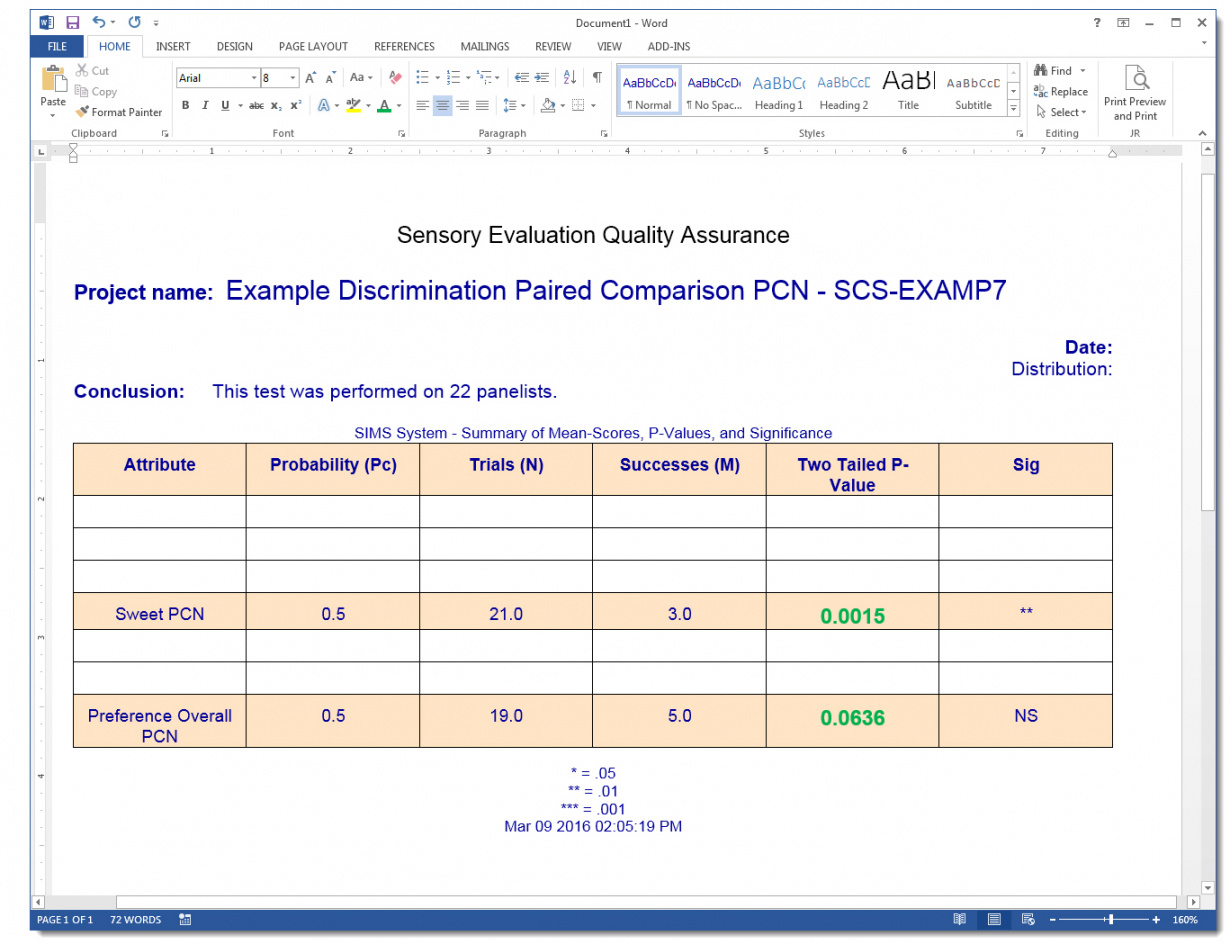 editable paired comparison attribute analysis report  sims sensory paired comparison analysis excel template pdf