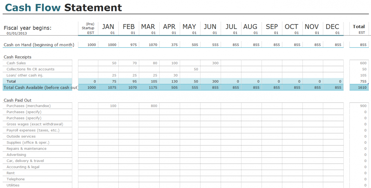 editable free cash flow statement templates for excel  invoiceberry cash flow analysis spreadsheet template doc