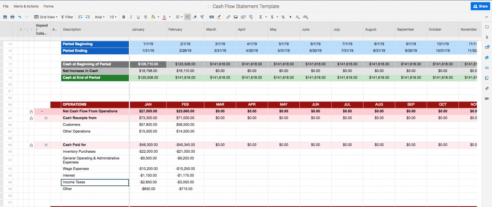 Cash Flow Analysis Spreadsheet Template