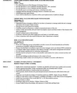 free risk analysis specialist resume samples  velvet jobs credit risk analysis report template doc