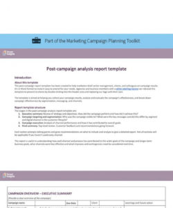 printable postcampaign analysis report template  smart insights marketing campaign analysis report template doc
