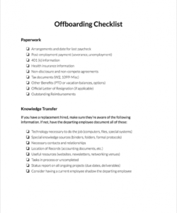 free offboarding checklist  clicktime offboarding checklist template pdf