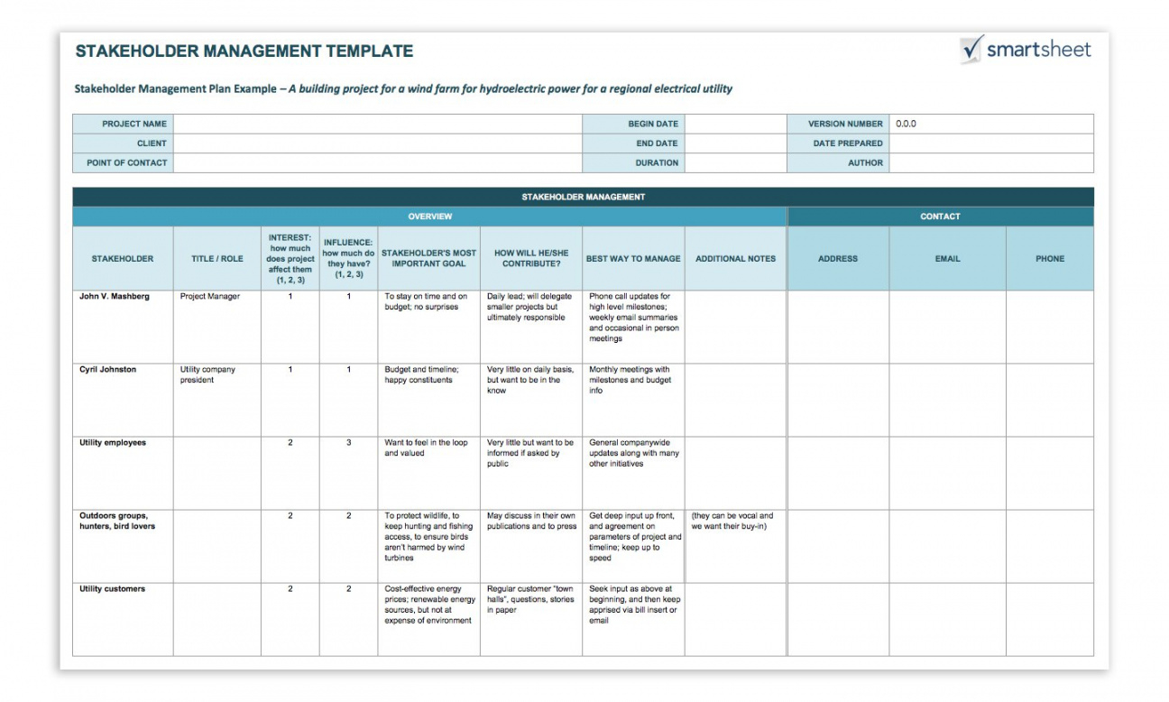 how to create a stakeholder management plan smartsheet stakeholder analysis template project management doc
