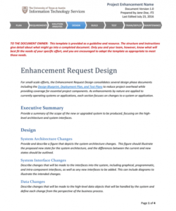 printable project enhancement name system analysis and design document template sample