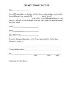 editable earnest money form  fill online printable fillable blank release of earnest money deposit form doc