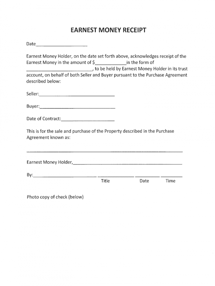 earnest money deposit form  Release Of Earnest Money Deposit Form