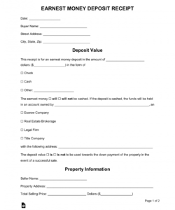 editable free earnest money deposit receipt for personal property release of earnest money deposit form doc