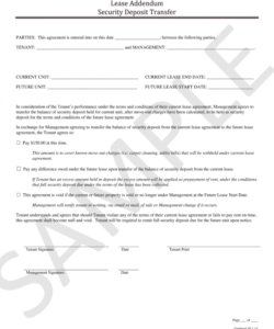 editable security deposit transfer addendum  fill online printable transfer of security deposit to new owner form sample