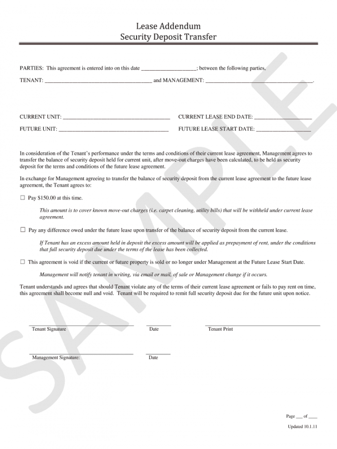 editable security deposit transfer addendum  fill online printable transfer of security deposit to new owner form sample