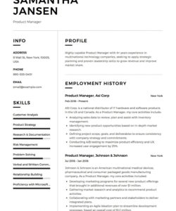 free product manager resume sample template example cv formal curriculum analysis template