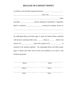 free release earnest money form  fill online printable release of earnest money deposit form excel