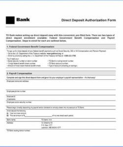 printable direct deposit authorization form from bank sample 3180 federal government direct deposit form sample