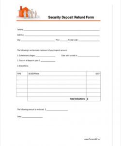 printable free 8 security deposit form in sample example format refund security deposit form pdf