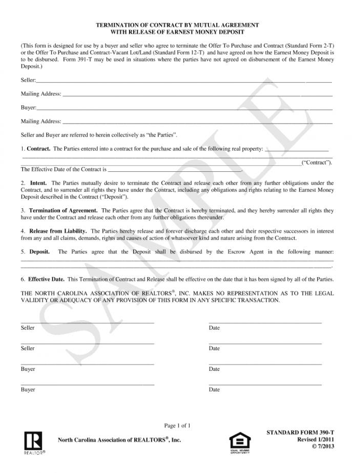 printable nc resl estate release of earnest money form  fill online release of earnest money deposit form doc