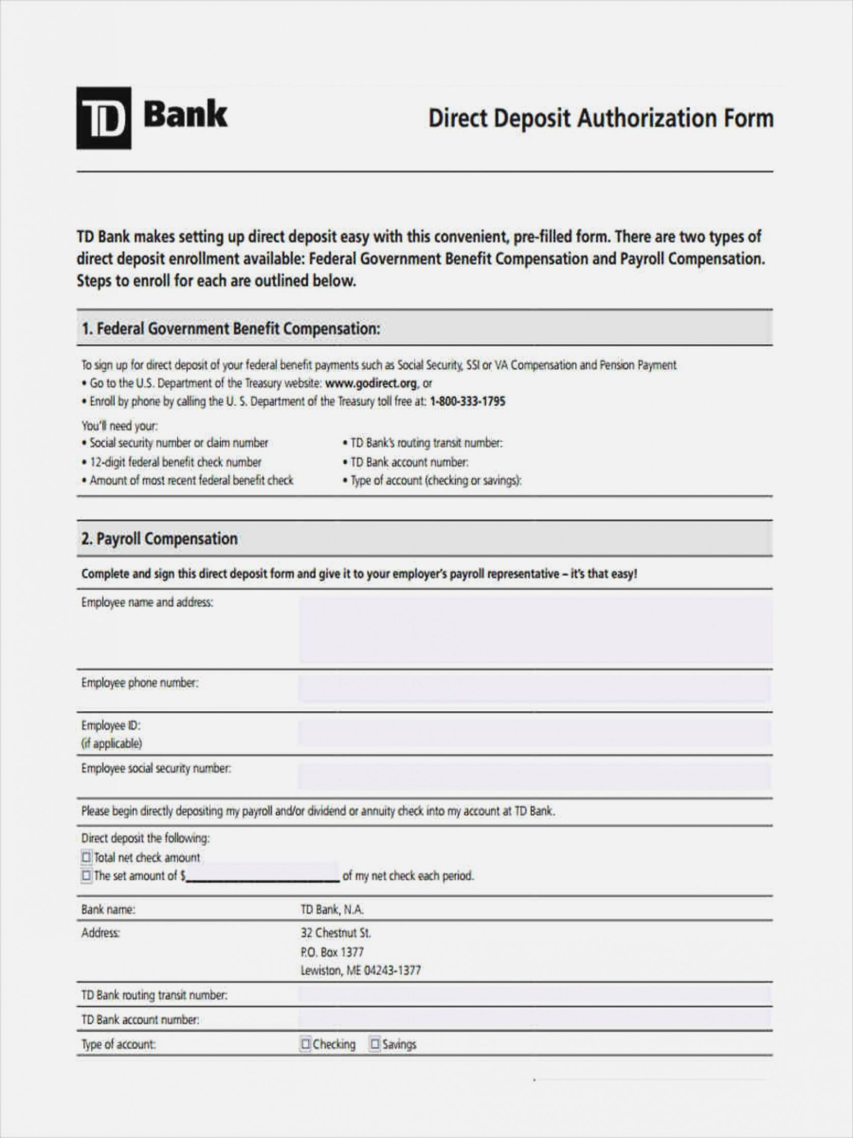 sample ✓ blank direct deposit authorization form sample 2383 federal government direct deposit form example