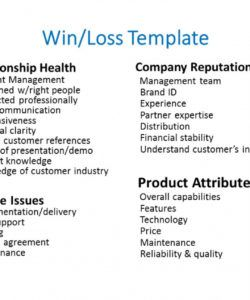 templates for win loss analysis win loss analysis template sample
