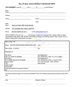 bill of sale  sale contract for dog or puppy puppy deposit contract template pdf