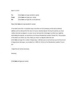 editable deposit return letter template  docap security deposit return letter template sample