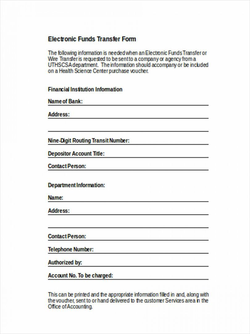 editable free 8 sample fund transfer forms in word  pdf electronic funds transfer deposit form template excel