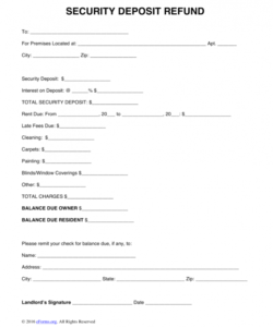 editable return form template free security deposit letter word pdf security deposit refund form template excel