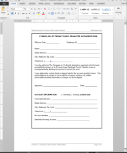 electronic funds transfer authorization template  com1013 electronic funds transfer deposit form template doc
