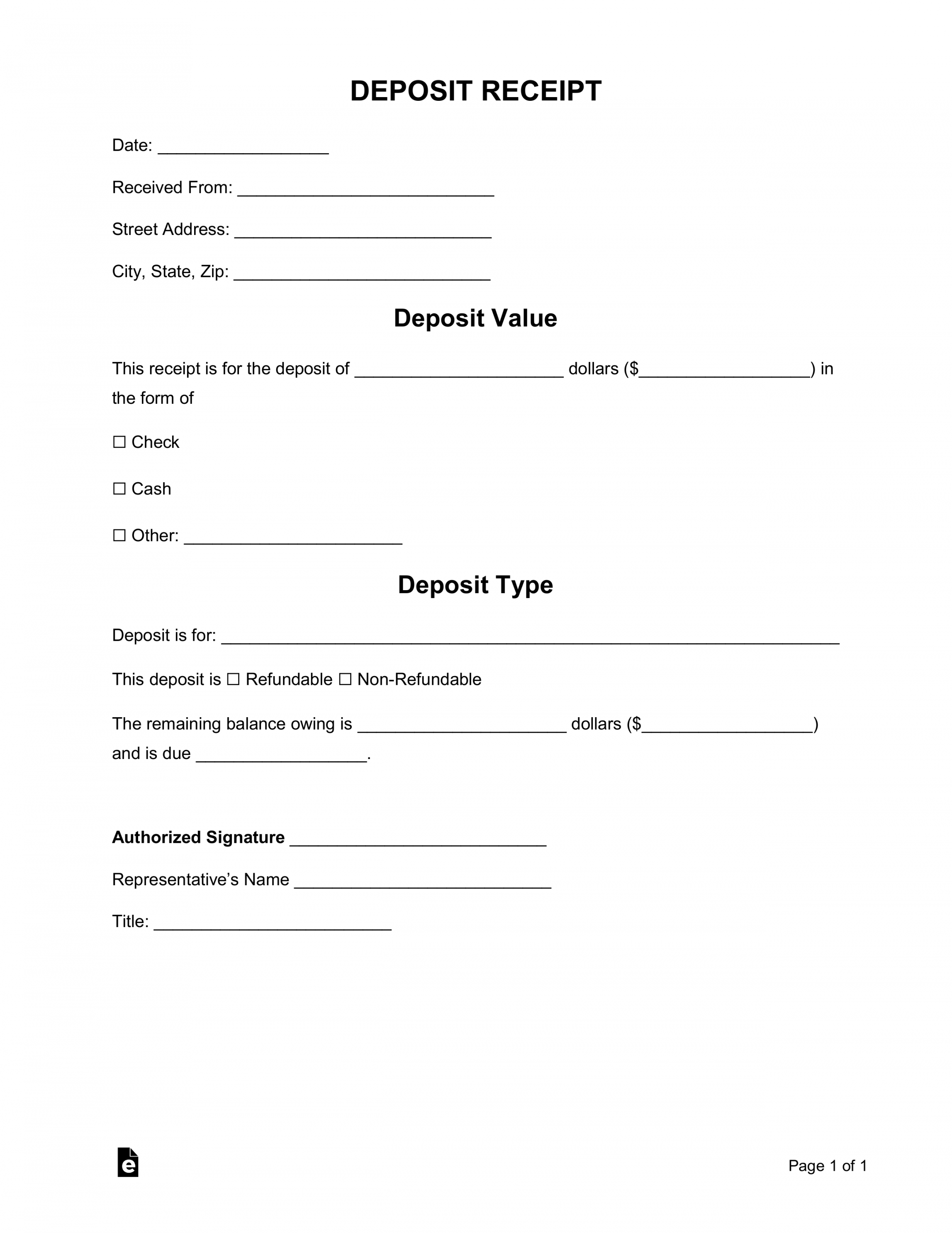 free deposit receipt templates  word  pdf  eforms  free refundable deposit agreement template word