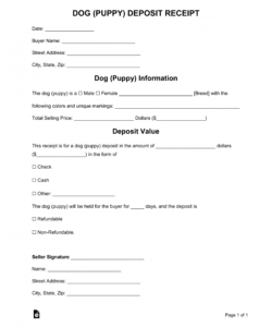 free dog puppy deposit receipt template  word  pdf puppy deposit contract template