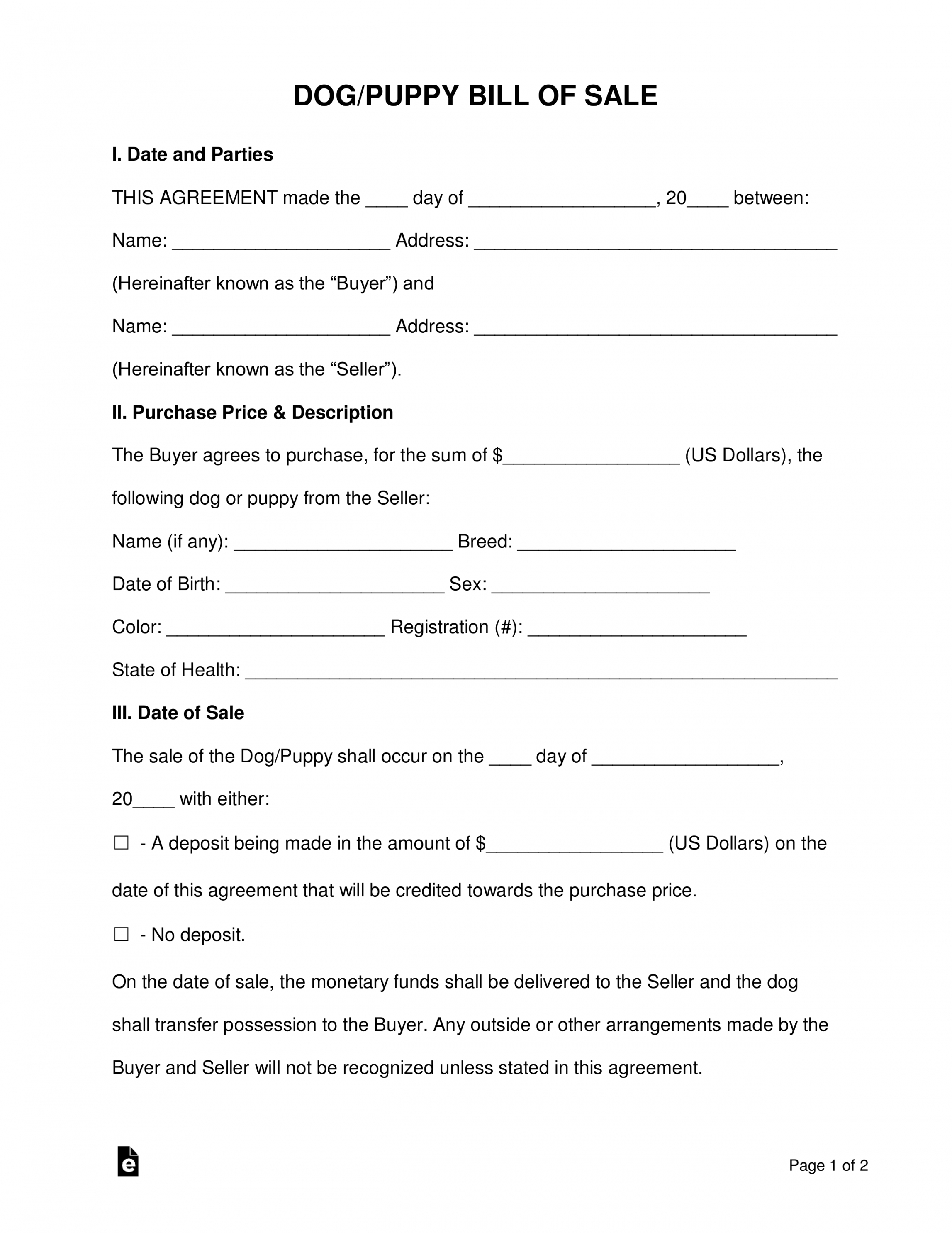 free dogpuppy bill of sale form  word  pdf  eforms puppy deposit contract template sample