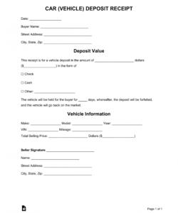 free free car vehicle purchase deposit receipt template  word deposit form for vehicle purchase doc
