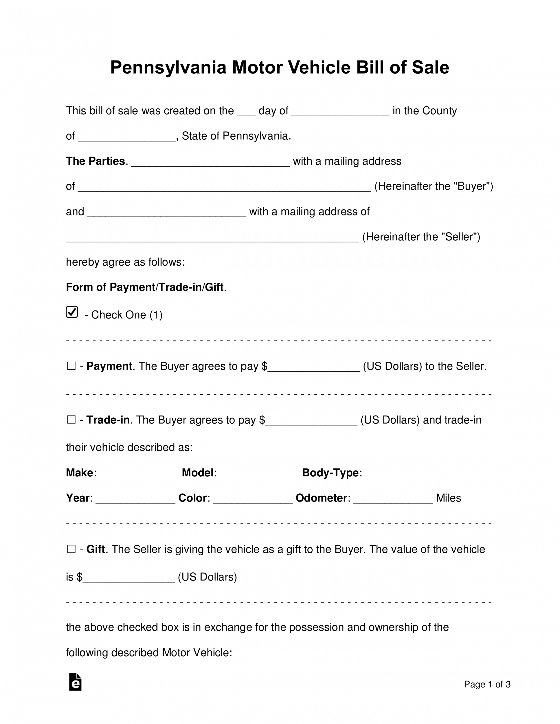 free free pennsylvania motor vehicle bill of sale form  word deposit form for vehicle purchase doc