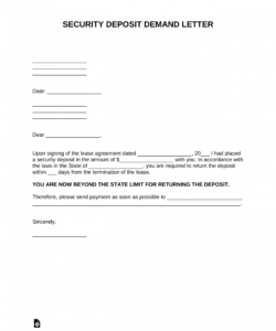 free free security deposit demand letter template  pdf  word request for return of security deposit form example
