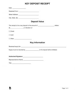 free key deposit receipt template  word  pdf  eforms deposit release form template doc