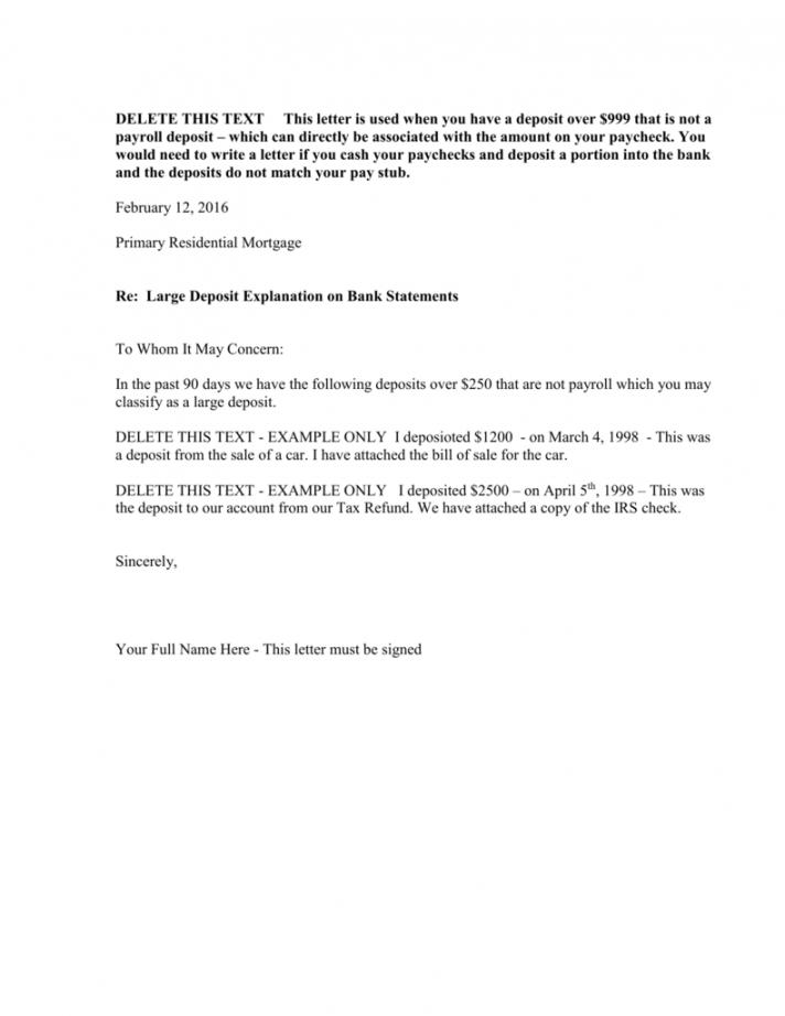 free large deposit explanation letter letter of explanation for deposit template excel