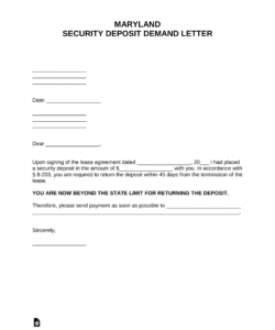 free maryland security deposit demand letter  pdf  word landlord security deposit return form example