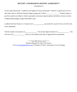 free receipt and holding deposit agreement pdf  property holding deposit agreement template
