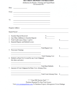free security deposit itemization pdf  property management forms itemized security deposit deduction form word