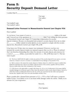 free security deposit letter  fill online printable fillable security deposit demand letter template doc