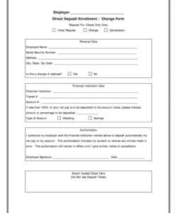 generic direct deposit form  fill online printable generic direct deposit form template excel